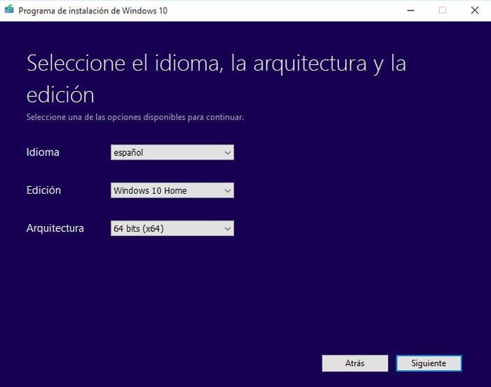 seleccionar edición de windows