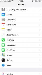 Cuentas y contraseñas iPhone